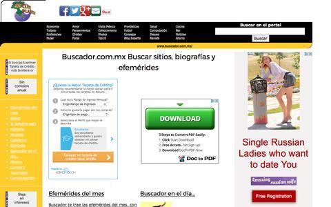 Screenshot of Home Page buscador.com.mx - Buscador.com.mx Buscar sitios, biografías y efemérides - captured June 27, 2017