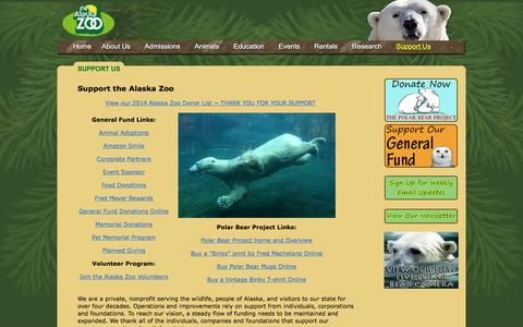Screenshot of Support Page alaskazoo.org - Support Us | alaskazoo.org - captured March 11, 2016