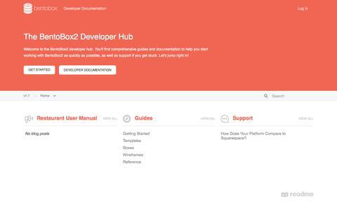 Screenshot of Developers Page getbento.com - BentoBox - captured June 14, 2017