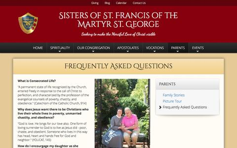Screenshot of FAQ Page altonfranciscans.org - Frequently Asked Questions   Sisters of St. Francis of the Martyr St. George - captured Nov. 30, 2016
