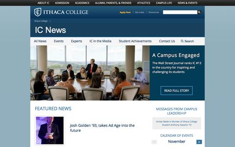 Screenshot of Press Page ithaca.edu - IC News - Ithaca College - captured Nov. 26, 2016