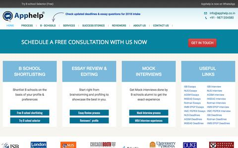 Screenshot of Home Page apphelp.co.in - Apphelp: #1 MBA admission consultant in India - Essay review & Editing services, Mock interview services - captured Oct. 8, 2017