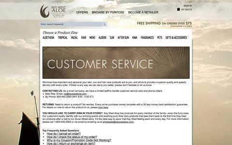 Screenshot of Support Page keywestaloe.com - Customer Service - captured Sept. 30, 2014