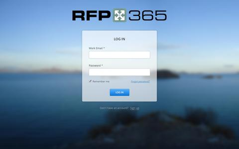 Screenshot of Login Page rfp365.com - RFP365 Log In - captured Oct. 26, 2014