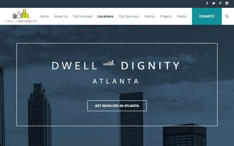 Screenshot of Locations Page dwellwithdignity.org - Dwell with Dignity Locations | Dallas Design | Atlanta Design - captured Aug. 3, 2016