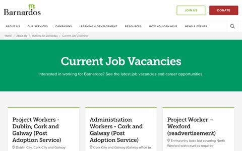 Screenshot of Jobs Page barnardos.ie - Current Job Vacancies | Barnardos - captured Oct. 5, 2018