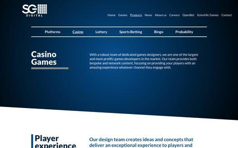 Screenshot of Products Page sgdigital.com - Casino Games | SG Digital - captured Feb. 7, 2018