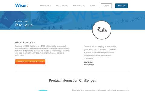 Screenshot of Case Studies Page wiser.com - RueLaLa uses Wiser to stay competitive - captured Oct. 20, 2016