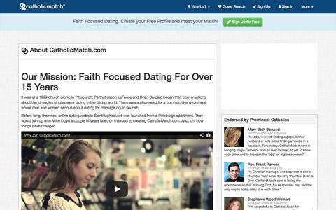 Screenshot of About Page catholicmatch.com - About CatholicMatch.com - captured Sept. 23, 2014