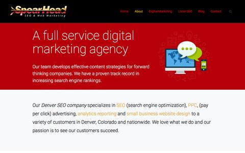 Screenshot of About Page spearheadseo.com - Denver SEO Company | About Us  | SpearHead SEO - captured Feb. 27, 2016