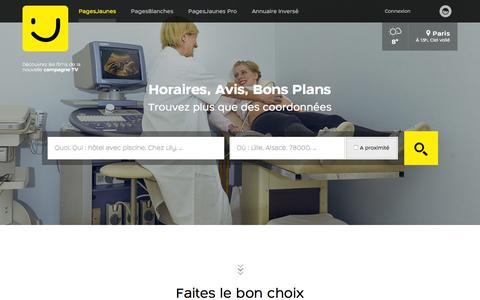 Screenshot of Home Page pagesjaunes.fr - PagesJaunes : Trouvez plus que des coordonnées avec l'annuaire des professionnels - captured Feb. 3, 2016
