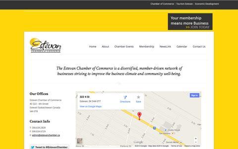 Screenshot of Contact Page estevanchamber.ca - Estevan Chamber of Commerce - captured Oct. 27, 2014