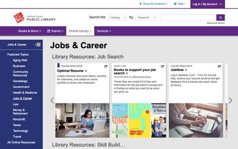 Screenshot of Jobs Page jeffcolibrary.org - Jobs & Career | Jefferson County Public Library - captured Oct. 13, 2018