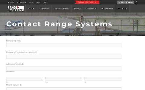 Screenshot of Contact Page range-systems.com - Get in Contact with Range Systems in New Hope, MN - captured Sept. 20, 2018