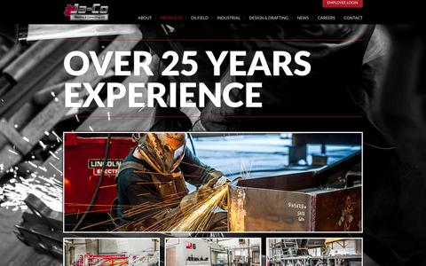 Screenshot of Products Page jacowelding.com - Products | Ja-Co Welding - captured Feb. 11, 2016