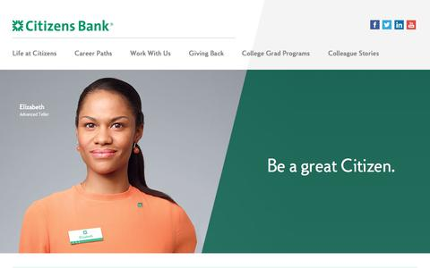 Screenshot of Jobs Page citizensbank.com - Working at CITIZENS BANK - captured April 3, 2017