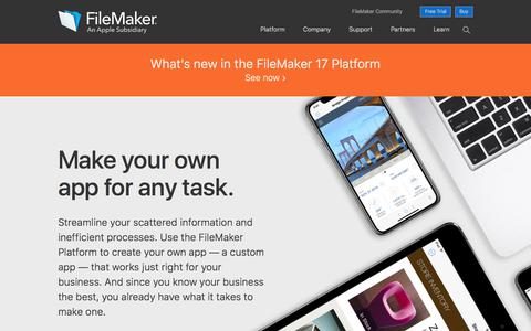 Screenshot of Home Page filemaker.com - Make an app for any task | FileMaker — An Apple Subsidiary - captured May 18, 2018
