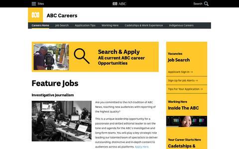 Screenshot of Jobs Page abc.net.au - ABC Careers - Home - captured June 20, 2017