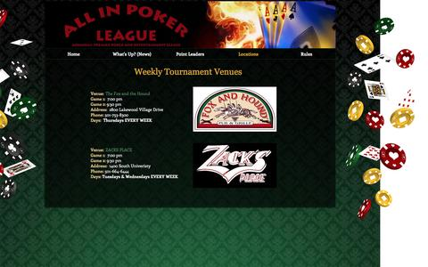 Screenshot of Locations Page aiplonline.com - All In Poker League - Arkansas | Locations - captured Nov. 20, 2016