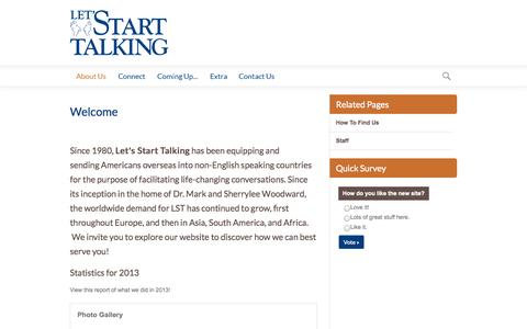 Screenshot of About Page lst.org - Let's Start Talking Ministry   Welcome - captured Oct. 2, 2014