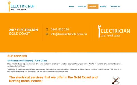 Screenshot of Services Page smelectricals.com.au - Our Services | Shaun Mill Electricals - captured May 3, 2017