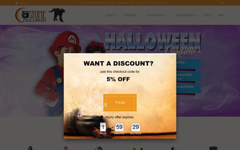 Screenshot of Home Page costumecauldron.com - Costume Cauldron ~ Kids Costumes, Sexy Adult Halloween Costumes - captured April 12, 2019