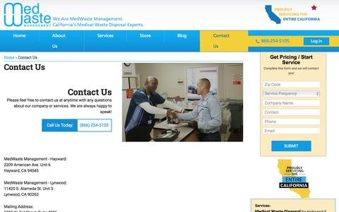 Screenshot of Contact Page medwastemngmt.com - Contact Us - Medwaste Management - captured Aug. 16, 2019