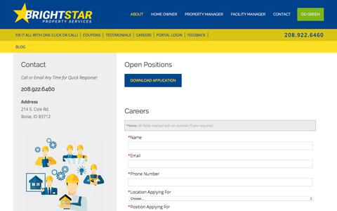 Screenshot of Jobs Page brightstarps.com - Careers :: Bright Star - captured July 6, 2018