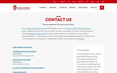 Screenshot of Contact Page wisc.edu - Contact Us - University of Wisconsin–Madison - captured Aug. 18, 2019