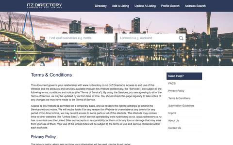 Screenshot of Terms Page nzdirectory.co.nz - NZ Directory terms & conditions - captured Oct. 4, 2018