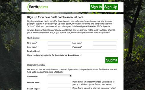 Screenshot of Signup Page earthpoints.co.uk - Register with Earthpoints - captured Oct. 1, 2014