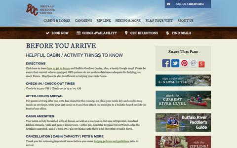 Screenshot of FAQ Page buffaloriver.com - Buffalo Outdoor Center   Cabin Guest Checklist      Buffalo National River Cabins & Canoeing in Beautiful Ponca, Arkansas - captured Oct. 5, 2014