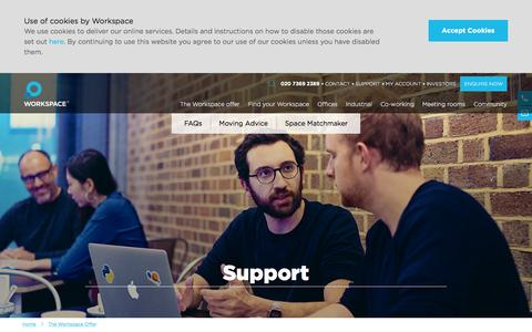 Screenshot of Support Page workspace.co.uk - View our Support Section | Workspace - captured Feb. 11, 2016