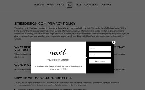 Screenshot of Privacy Page stiesdesign.com - Privacy Policy | Sties Design Agency - captured Oct. 20, 2018