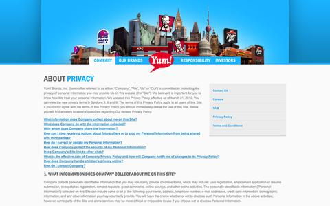 Screenshot of Privacy Page yum.com - Yum! Brands - Defining Global Company that Feeds the World - captured Sept. 19, 2014