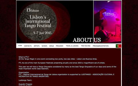 Screenshot of About Page lusitango.com - Lisbon internacional tango Festival - About us - captured Sept. 30, 2014