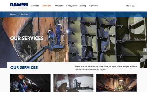 Screenshot of Services Page damenshiprepair.com - We offer ship owners a comprehensive range of services  - Damen Shiprepair & Conversion - captured Oct. 4, 2017