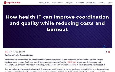 Screenshot of Blog ingeniousmed.com - Health IT can improve quality while reducing costs and burnout - captured Nov. 28, 2019
