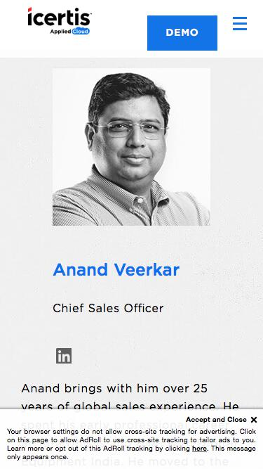 Screenshot of Team Page  icertis.com - Anand Veerkar - Executive Vice President, Global Sales - Icertis