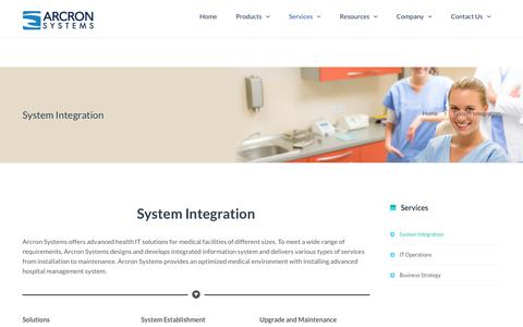 Screenshot of Services Page arcronsystems.com - System Integration   Arcron Systems - captured Oct. 8, 2017