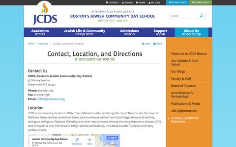 Screenshot of Contact Page Maps & Directions Page jcdsboston.org - Contact, Location & Directions - About Us - Jewish Community Day School - captured Feb. 2, 2016