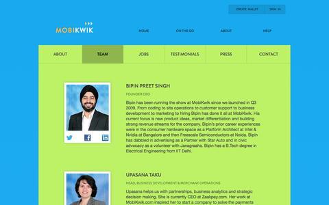 Screenshot of Team Page mobikwik.com - Mobikwik Team - captured Oct. 10, 2014