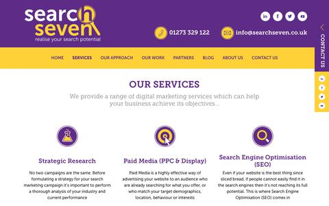 Screenshot of Services Page searchseven.co.uk - Search Seven - SEO & PPC Search Marketing Services - captured Sept. 21, 2018