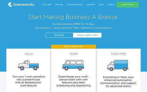 Screenshot of Pricing Page breezeworks.com - Pricing | Breezeworks - captured Nov. 12, 2016