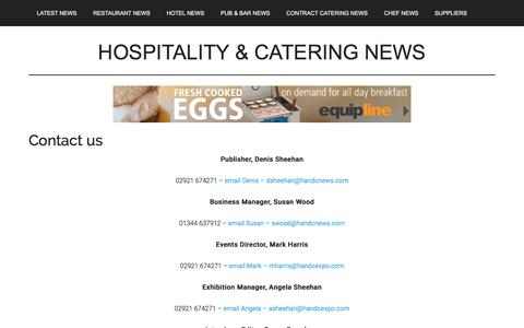 Screenshot of Contact Page hospitalityandcateringnews.com - Contact us - Hospitality & Catering News - captured Sept. 20, 2017