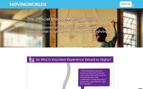 Screenshot of Blog movingworlds.org - The MovingWorlds Blog - International skills-based volunteering insights and stories - captured Sept. 8, 2016