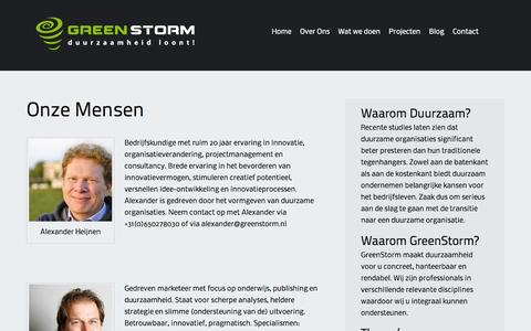 Screenshot of Team Page greenstorm.nl - Onze Mensen | GreenStorm.nl - captured Sept. 30, 2014