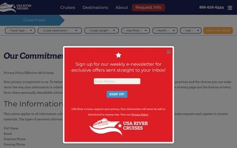 Screenshot of Privacy Page usarivercruises.com - Our Commitment to Privacy | USA River Cruises - captured Sept. 20, 2018
