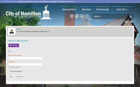Screenshot of Login Page hamilton-city.org - Hamilton, OH - captured June 24, 2017