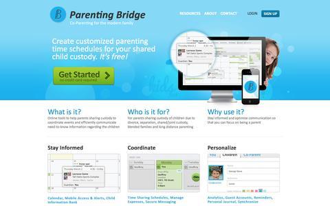 Screenshot of Home Page parentingbridge.com - Co-parent your shared child custody   Parenting Bridge - captured Sept. 27, 2014